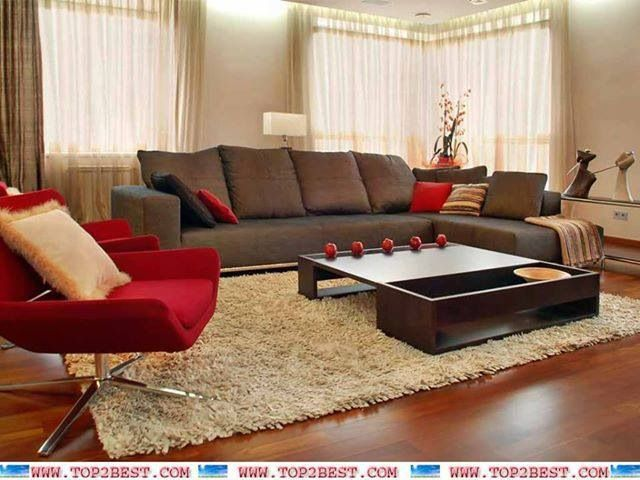 Brown and red living room | Brown living room, Living room design .