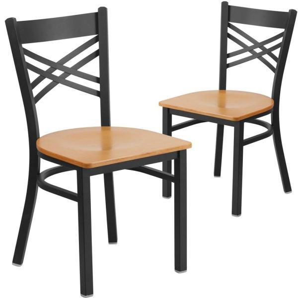 Carnegy Avenue Natural Wood Seat/Black Metal Frame Restaurant .