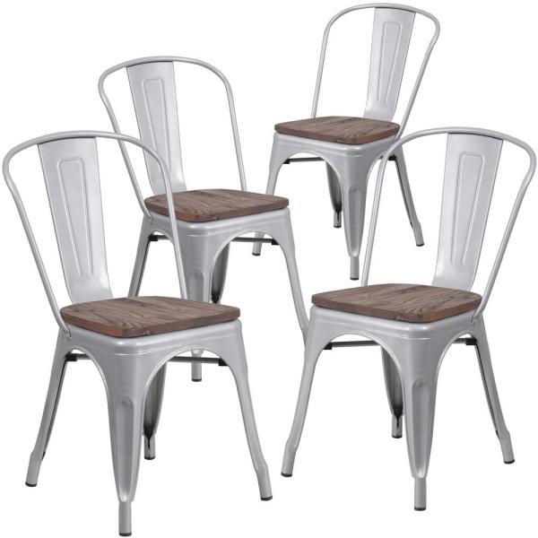Carnegy Avenue Silver Restaurant Chairs (Set of 4) CGA-CH-249656 .