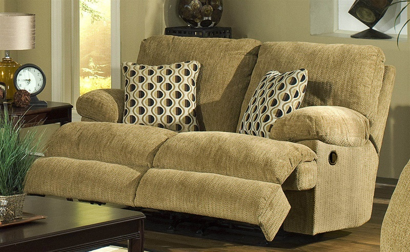 Newport Dual Rocking Reclining Love Seat in Pecan Chenille by .