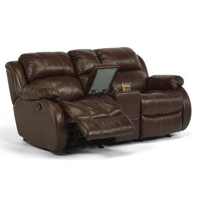 Flexsteel Rocking Reclining Loveseat w/ Console | Bailey's .