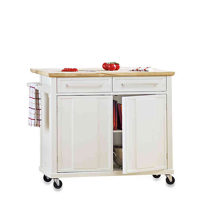 Real Simple® Rolling Kitchen Island in White | Bed Bath & Beyo