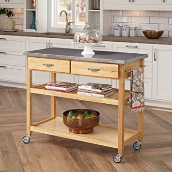 Amazon.com - Large Kitchen Island Cart Wheels Rolling Roller .