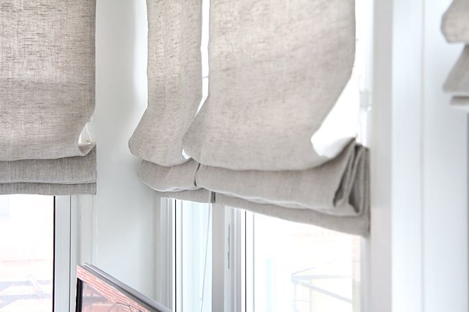 TV Room Before & After | Linen roman shades, Curtains, Roman blin