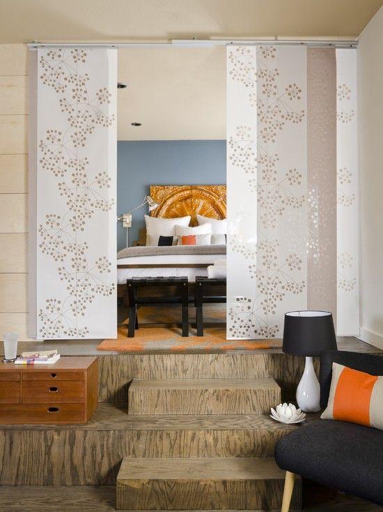 cheap IKEA curtain panels make cute room divider>> LOVE hte .