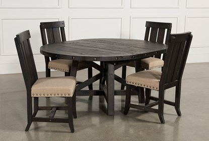 Jaxon 5 Piece Extension Round Dining Set W/Wood Chairs | Living Spac