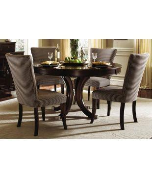 Dream Furniture Teak Wood 4 Seater Luxury Round Dining Table Set .