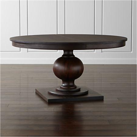 "Winnetka 60"" Round Dark Mahogany Extendable Dining Table + Reviews ."