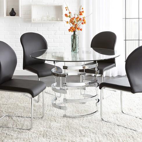 Tarik Round Dining Table Chrome - Steve Silver : Targ