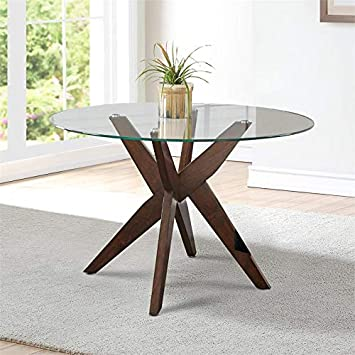 "Amazon.com - Steve Silver Amalie 48"" Round Glass Top Dining Table ."
