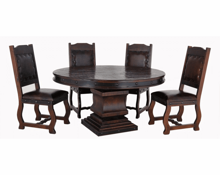 Espresso Round Table, Round Pedestal Dining Table S