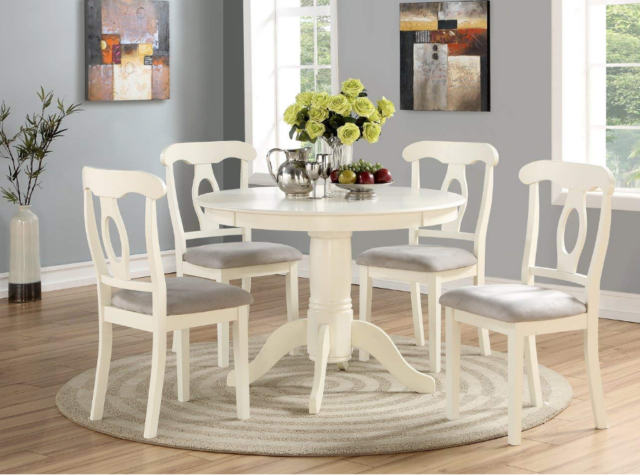 Lexington 5-Piece Dining Set with Round Table and 4 Window Back .