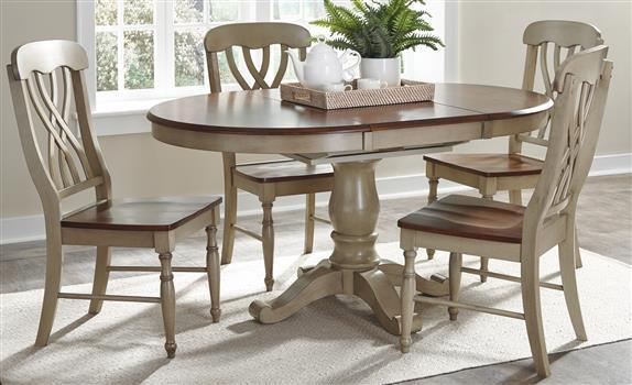 """42"""" Round Hardwood Dining Table With 18"""" Butterfly Leaf ."""