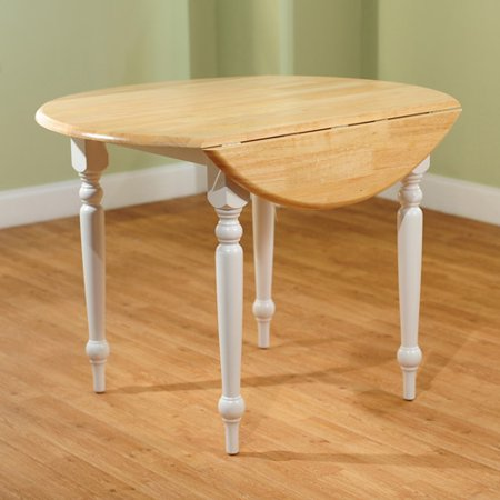 TMS Round Drop-Leaf Dining Table, White/Natural - Walmart.com .