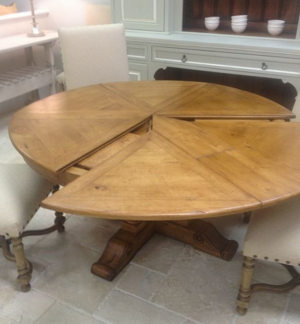 "60"" ROUND EXTENDABLE SOLID WOOD DISTRESSED DINING TABLE (EXTENDS ."