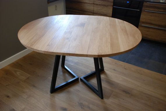 Extendable round table modern design steel and timber in 2020 .