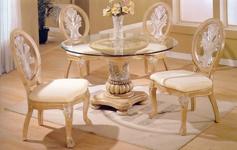 5 Pc Antique White Wood Round Glass Top Dining Table – Living Room .