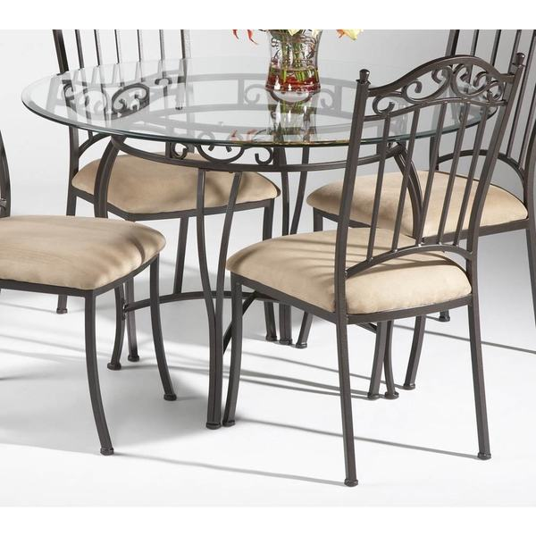 Shop Somette Round Wrought Iron Glass Top Dining Table - Overstock .