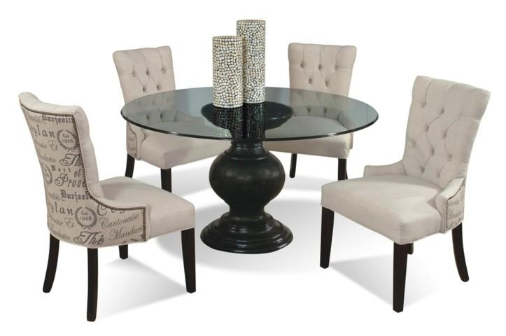 CMI Serena 5-Piece Contemporary Round Glass Table and Upholstered .