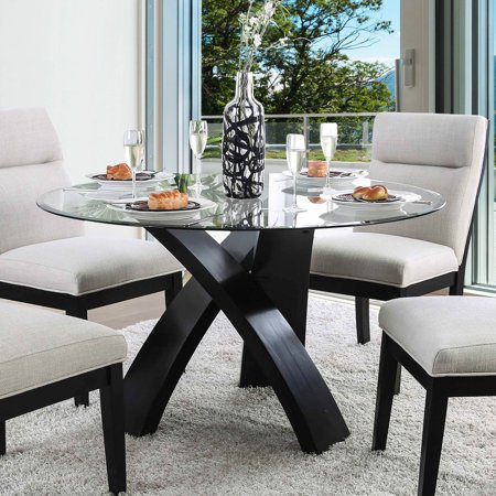 Furniture of America Evans Round Glass Dining Table - Walmart.com .