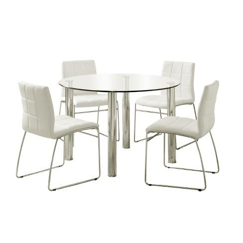 5pc Aneston Glass Top Chrome Leg Round Dining Table SetChrome .