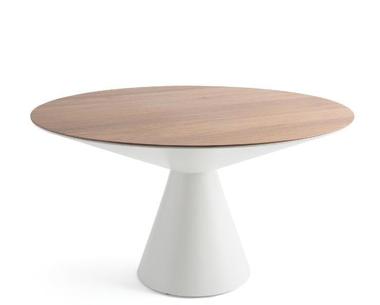 Prudence Round Walnut Top White Pedestal Dining Tab