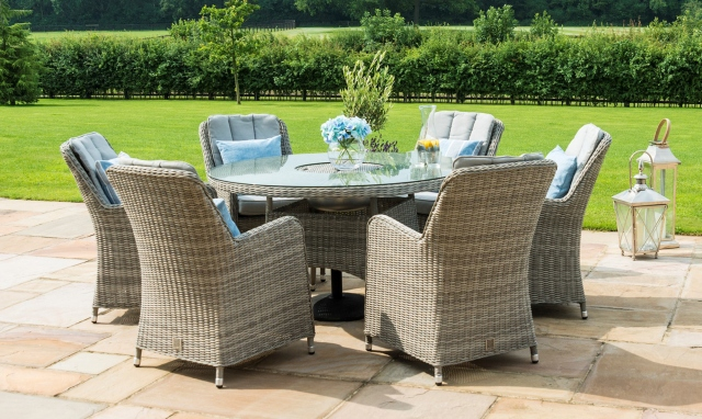 Oyster Bay6 Seat Round Garden Dining Set with Ice BucketLight Grey .