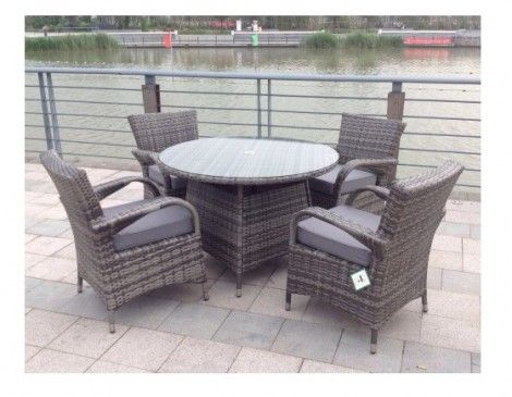 Paradise 4 Seater Round Grey Rattan Garden Furniture Dining Set .