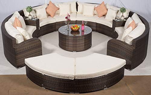 Giardino Riviera 8 Seat Brown Rattan Garden Furniture Set + Coffee .