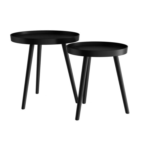 Lavish Home Wooden Nesting Round Tray Top Matte Black Side Tables .