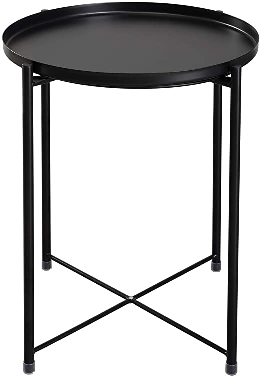 Amazon.com: HollyHOME Tray Metal End Table, Sofa Table Small Round .