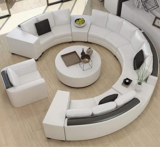 Amazon.com: Modern Curved top Grain Round Leather Sofa Living Room .