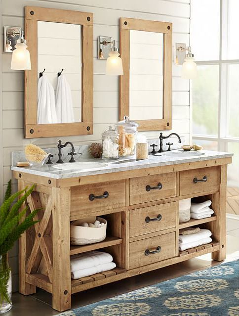 Great bathroom lighting is SO important! | Rustic master bathroom .