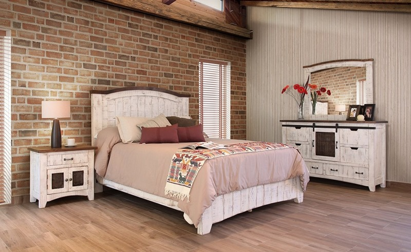 IFD Furniture | 360 Pueblo White Rustic Bedroom Set | Dallas .