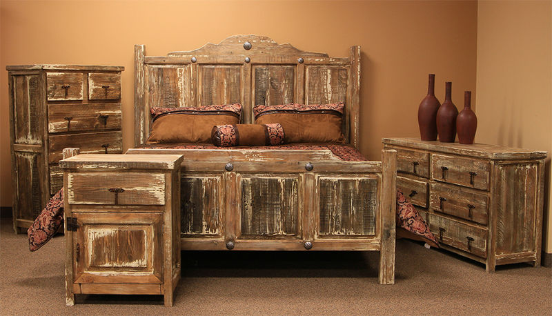 Authentic Solid Wood White Wash Rustic Bedroom Set | Dallas .