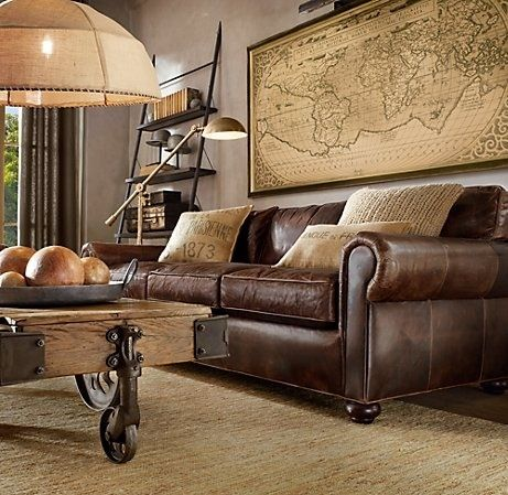 Rustic leather sofa - living room inspiration | Living room .