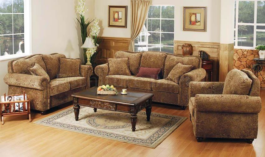 rustic indian furniture | Printed Microfiber Living Room Set with .