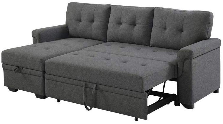 Lilola Home Lucca Linen Reversible Sleeper Sectional Sofa - From .