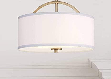 Halsted Modern Ceiling Light Semi Flush Mount Fixture Warm Brass .