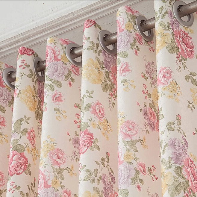 High End Floral Pink Shabby Chic Curtain For Bedro