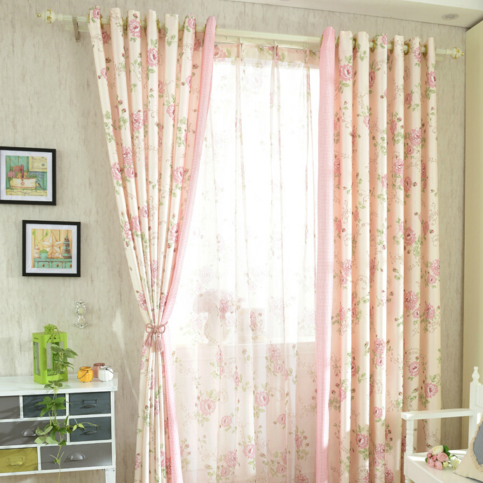 Romantic Pink Floral Poly/Cotton Shabby Chic Curtai