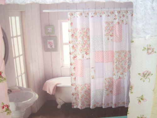 Shabby n Chic Cottage CHENILLE PINK ROSES & ROSEBUDS PATCHWORK .