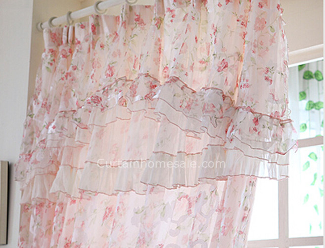 Beautiful Floral Pattern Elegant Lace Sheer Panels Shabby Chic Curta