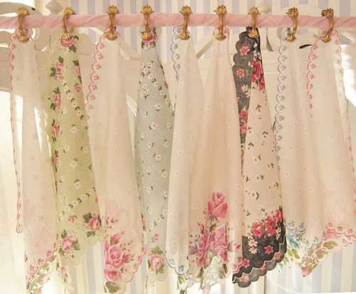 idea for shabby chic curtain topper using hankerchiefs | Shabby .