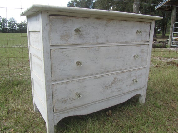 Vintage wood Dresser shabby chic furniture white dresser | Et
