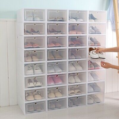 Plastic Clear Stackable Shoe Storage Transparent Boot Box Case .