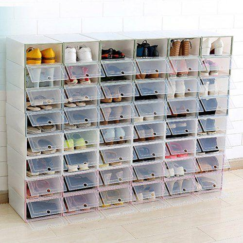 PP Transparent Plastic Shoe Box Artifact Shoe Storage Box Flip Men .