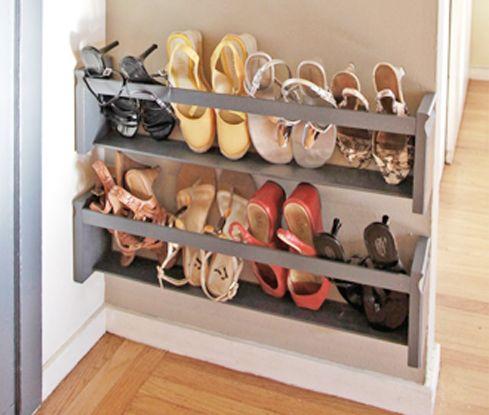 DIY: 5 Steps to a Shoe Storage Solution | Wall shoe storage, Diy .