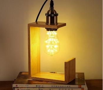 Modern Side Table Lamps Table Lamp Wood Table Light Edison Bulb .
