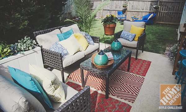 Simple Patio Decorating Ideas: Throw Pillows and Spray Paint .